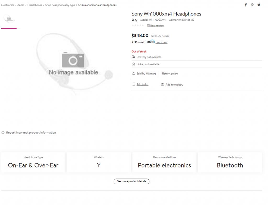 沃尔玛上架索尼WH-1000XM4降噪耳机,配置价格信息均有公布-我爱音频网